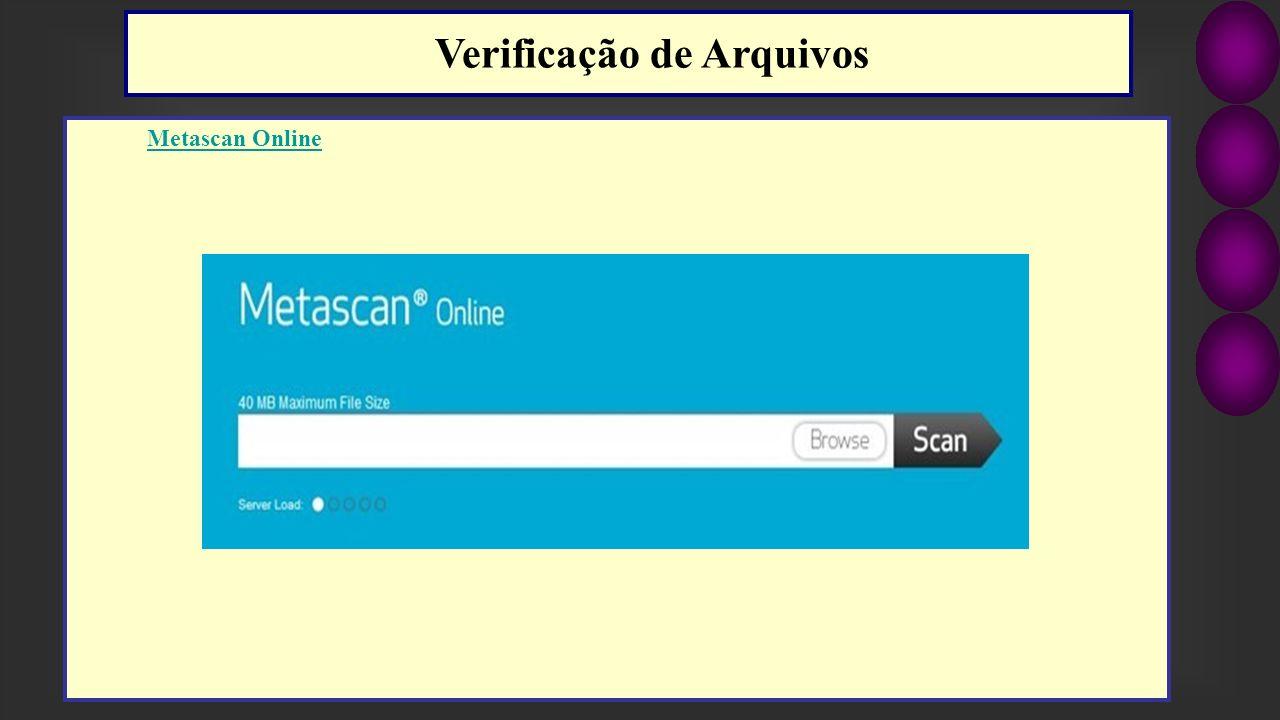 Metascan Online Verificação de Arquivos