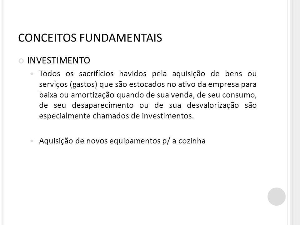 CONCEITOS FUNDAMENTAIS INVESTIMENTO Todos os sacrifícios havidos pela aquisição de bens ou serviços (gastos) que são estocados no ativo da empresa par
