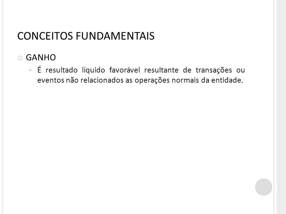 CONCEITOS FUNDAMENTAIS GANHO É resultado líquido favorável resultante de transações ou eventos não relacionados as operações normais da entidade.