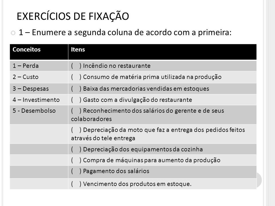 1 – Enumere a segunda coluna de acordo com a primeira: EXERCÍCIOS DE FIXAÇÃO ConceitosItens 1 – Perda( ) Incêndio no restaurante 2 – Custo( ) Consumo