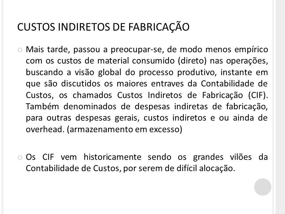 CUSTOS INDIRETOS DE FABRICAÇÃO Mais tarde, passou a preocupar-se, de modo menos empírico com os custos de material consumido (direto) nas operações, b