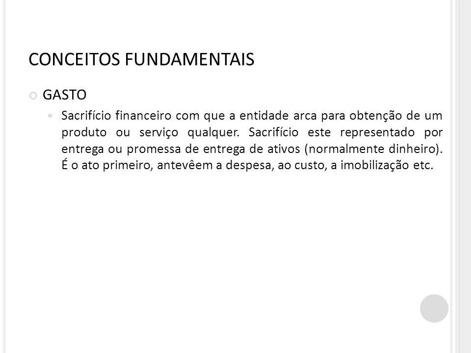 GASTO Sacrifício financeiro com que a entidade arca para obtenção de um produto ou serviço qualquer. Sacrifício este representado por entrega ou prome