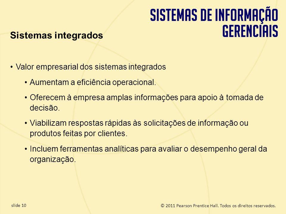 © 2011 Pearson Prentice Hall. Todos os direitos reservados. slide 10 Valor empresarial dos sistemas integrados Aumentam a eficiência operacional. Ofer