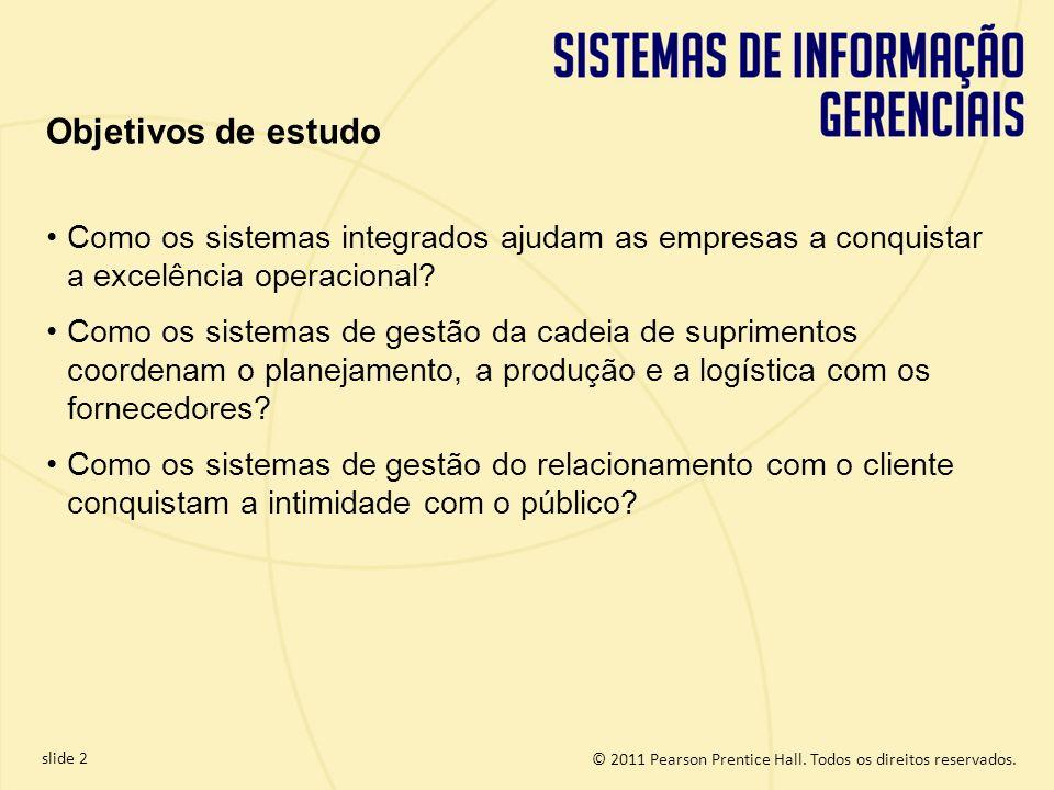 © 2011 Pearson Prentice Hall. Todos os direitos reservados. slide 2 Objetivos de estudo Como os sistemas integrados ajudam as empresas a conquistar a