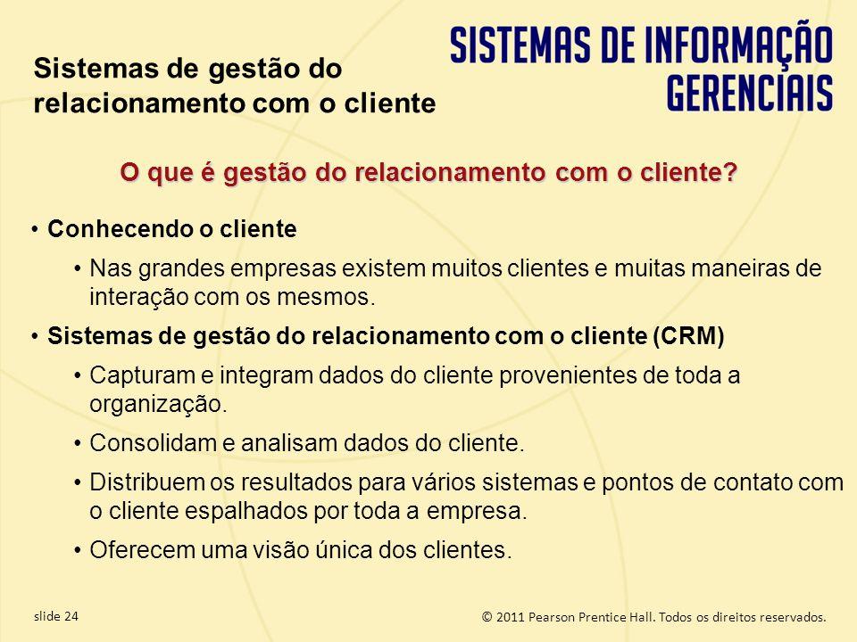 © 2011 Pearson Prentice Hall. Todos os direitos reservados. slide 24 O que é gestão do relacionamento com o cliente? Conhecendo o cliente Nas grandes