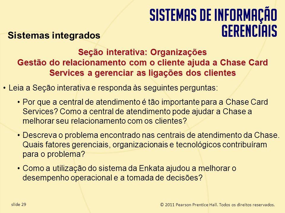 © 2011 Pearson Prentice Hall. Todos os direitos reservados. slide 29 Seção interativa: Organizações Gestão do relacionamento com o cliente ajuda a Cha