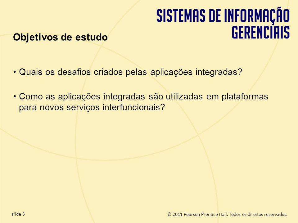 © 2011 Pearson Prentice Hall. Todos os direitos reservados. slide 3 Quais os desafios criados pelas aplicações integradas? Como as aplicações integrad