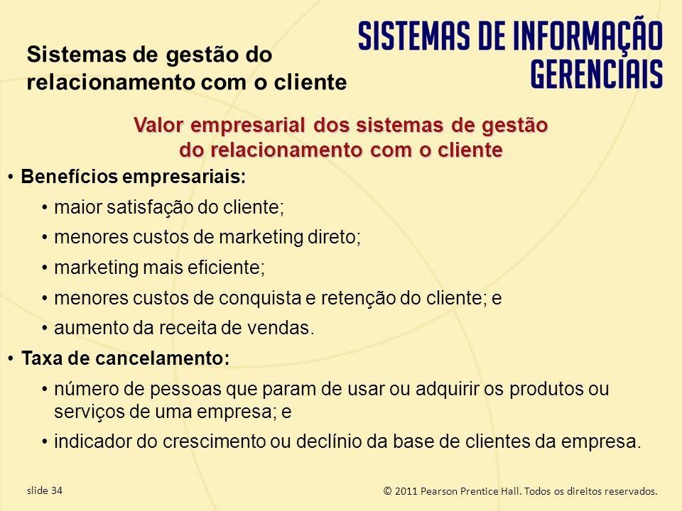 © 2011 Pearson Prentice Hall. Todos os direitos reservados. slide 34 Valor empresarial dos sistemas de gestão do relacionamento com o cliente Benefíci