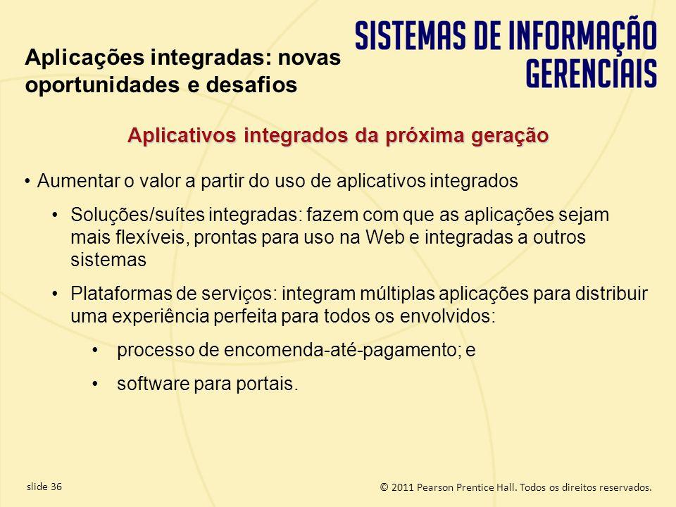 © 2011 Pearson Prentice Hall. Todos os direitos reservados. slide 36 Aumentar o valor a partir do uso de aplicativos integrados Soluções/suítes integr
