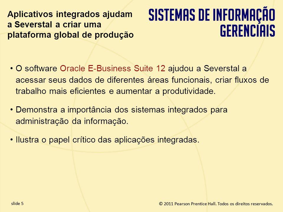 © 2011 Pearson Prentice Hall. Todos os direitos reservados. slide 5 © 2011 Pearson Prentice Hall. Todos os direitos reservados. O software Oracle E-Bu