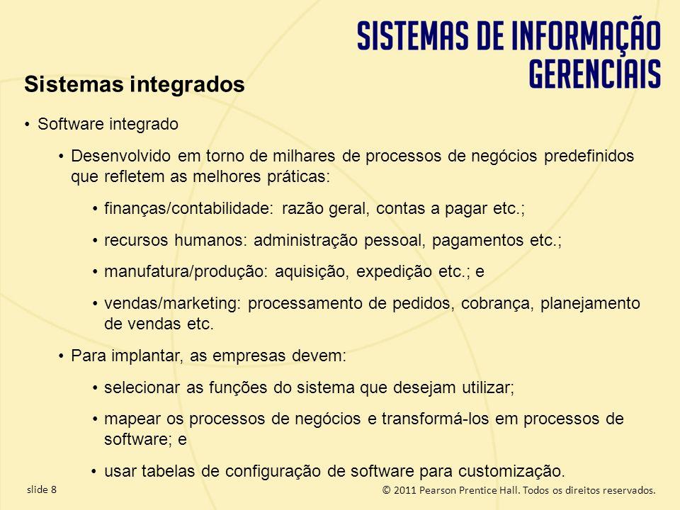 © 2011 Pearson Prentice Hall. Todos os direitos reservados. slide 8 Software integrado Desenvolvido em torno de milhares de processos de negócios pred