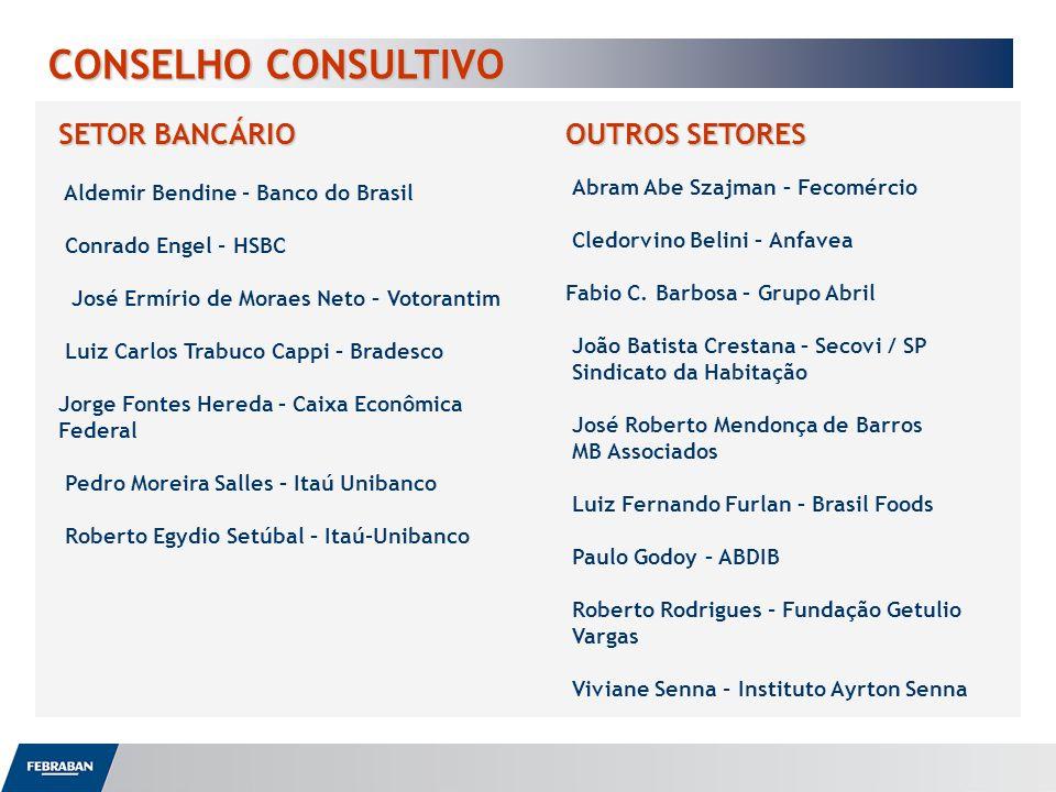 CONSELHO CONSULTIVO SETOR BANCÁRIO Aldemir Bendine - Banco do Brasil Conrado Engel - HSBC José Ermírio de Moraes Neto – Votorantim Luiz Carlos Trabuco