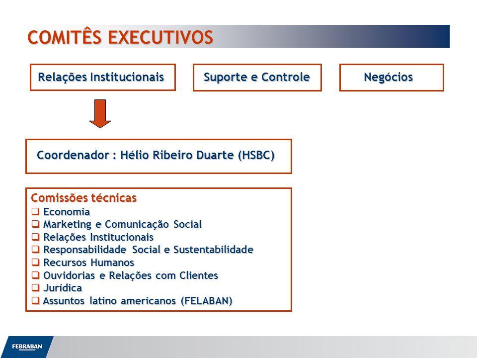 COMITÊS EXECUTIVOS COMITÊS EXECUTIVOS Relações Institucionais Suporte e Controle Negócios Coordenador : Hélio Ribeiro Duarte (HSBC) Comissões técnicas