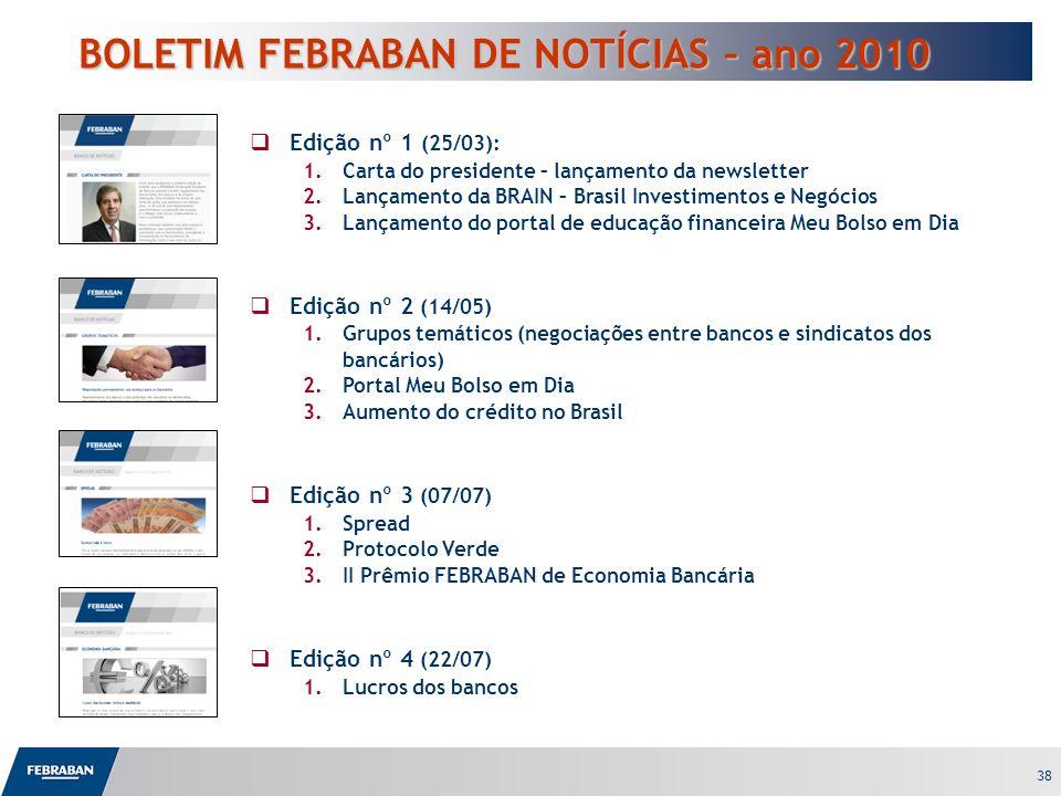 38 BOLETIM FEBRABAN DE NOTÍCIAS – ano 2010 Edição nº 1 (25/03): 1.Carta do presidente – lançamento da newsletter 2.Lançamento da BRAIN – Brasil Invest