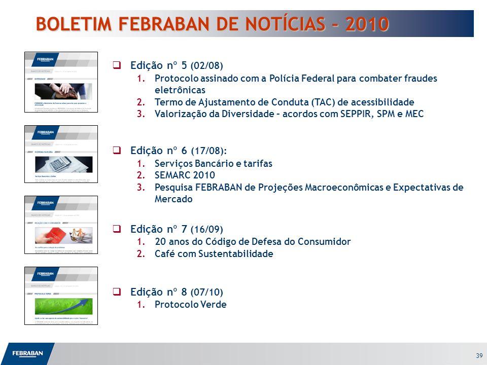 39 BOLETIM FEBRABAN DE NOTÍCIAS – 2010 BOLETIM FEBRABAN DE NOTÍCIAS – 2010 Edição nº 5 (02/08) 1.Protocolo assinado com a Polícia Federal para combate