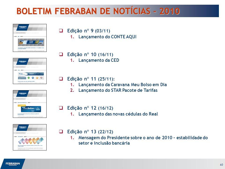 40 BOLETIM FEBRABAN DE NOTÍCIAS – 2010 BOLETIM FEBRABAN DE NOTÍCIAS – 2010 Edição nº 9 (03/11) 1.Lançamento do CONTE AQUI Edição nº 10 (16/11) 1.Lança