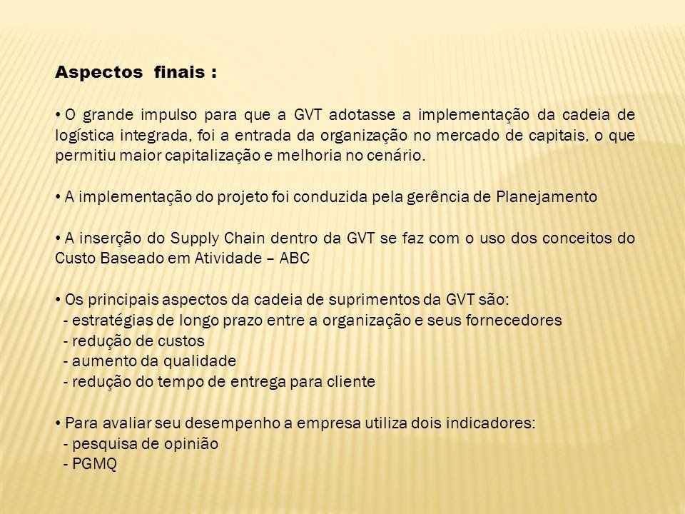 Aspectos finais : O grande impulso para que a GVT adotasse a implementação da cadeia de logística integrada, foi a entrada da organização no mercado d