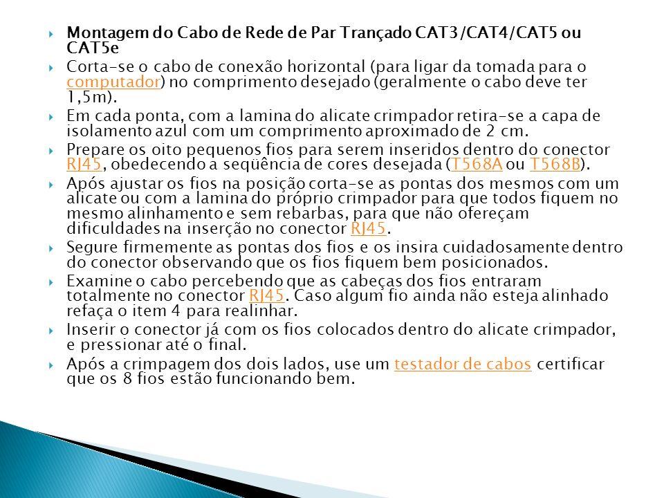 Montagem do Cabo de Rede de Par Trançado CAT3/CAT4/CAT5 ou CAT5e Corta-se o cabo de conexão horizontal (para ligar da tomada para o computador) no com