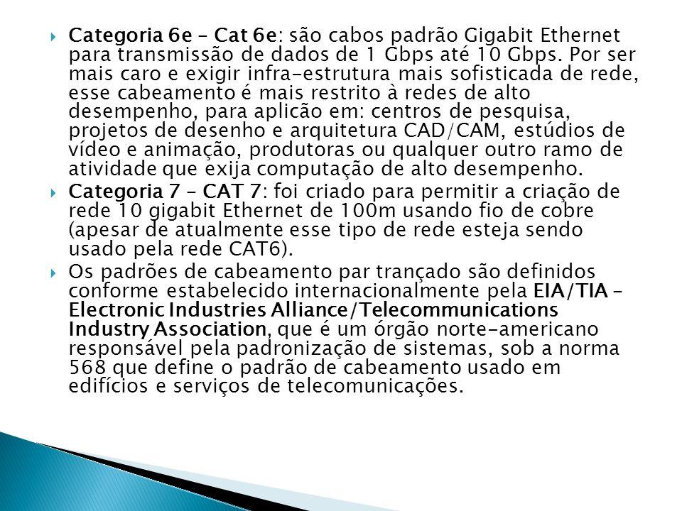 Categoria 6e – Cat 6e: são cabos padrão Gigabit Ethernet para transmissão de dados de 1 Gbps até 10 Gbps. Por ser mais caro e exigir infra-estrutura m