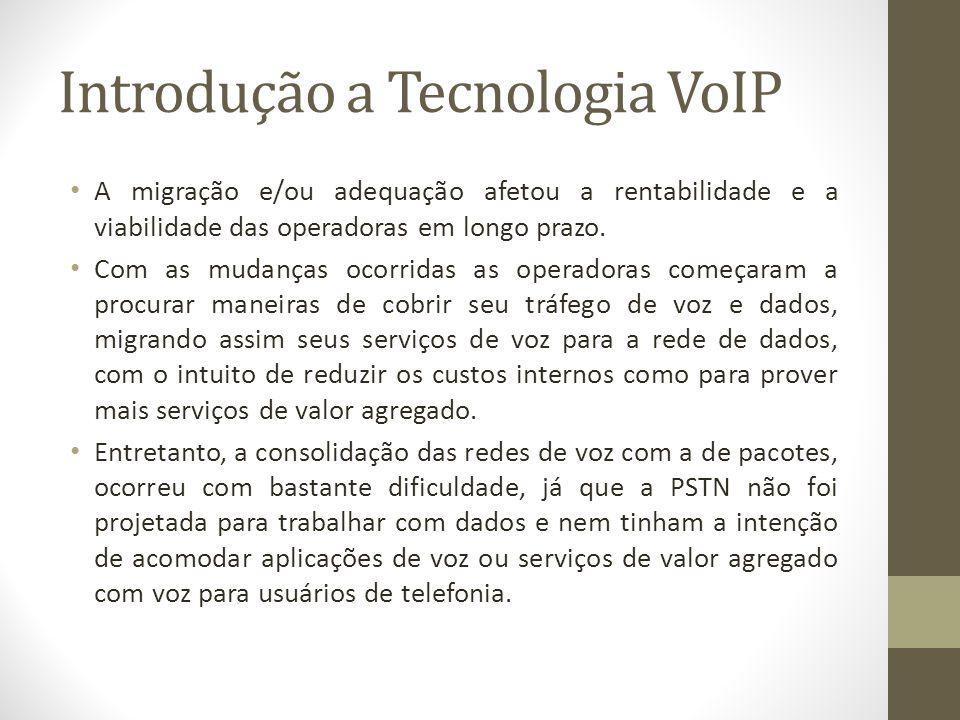 Introdução a Tecnologia VoIP A migração e/ou adequação afetou a rentabilidade e a viabilidade das operadoras em longo prazo. Com as mudanças ocorridas