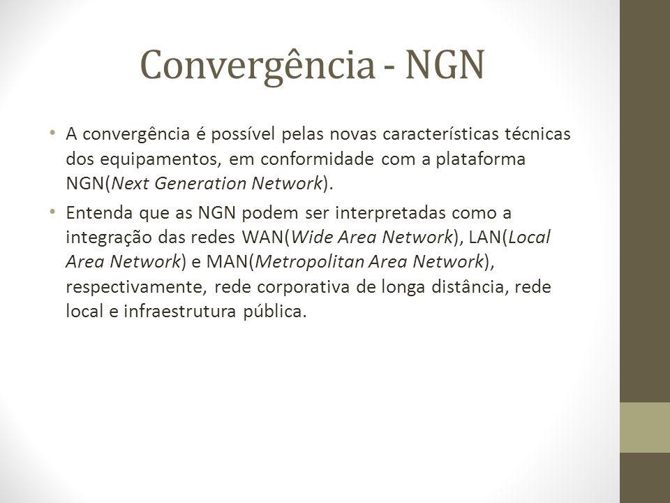 Convergência - NGN A convergência é possível pelas novas características técnicas dos equipamentos, em conformidade com a plataforma NGN(Next Generati