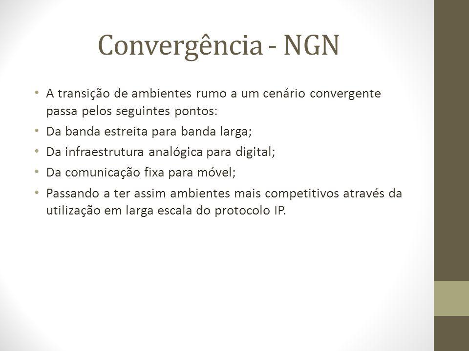 Convergência - NGN A transição de ambientes rumo a um cenário convergente passa pelos seguintes pontos: Da banda estreita para banda larga; Da infraes