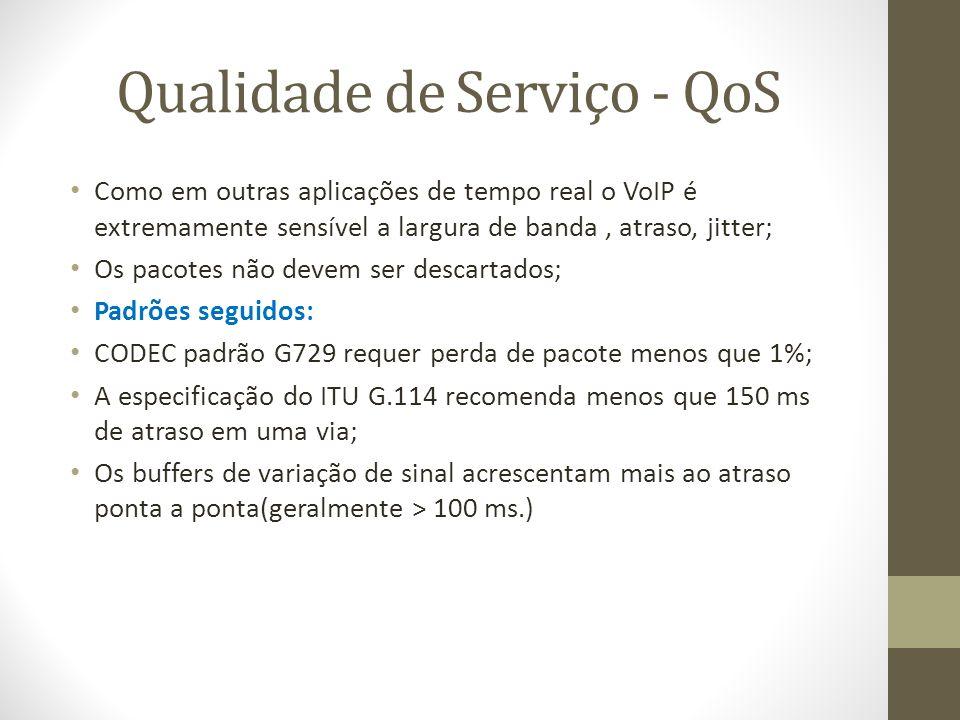 Qualidade de Serviço - QoS Como em outras aplicações de tempo real o VoIP é extremamente sensível a largura de banda, atraso, jitter; Os pacotes não d