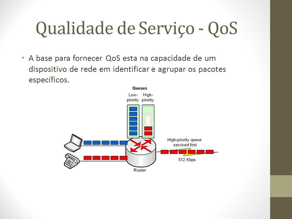Qualidade de Serviço - QoS A base para fornecer QoS esta na capacidade de um dispositivo de rede em identificar e agrupar os pacotes específicos.