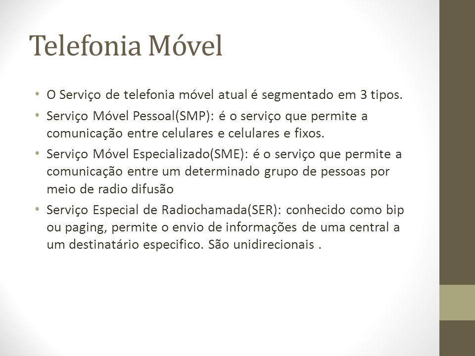 Telefonia Móvel O Serviço de telefonia móvel atual é segmentado em 3 tipos. Serviço Móvel Pessoal(SMP): é o serviço que permite a comunicação entre ce