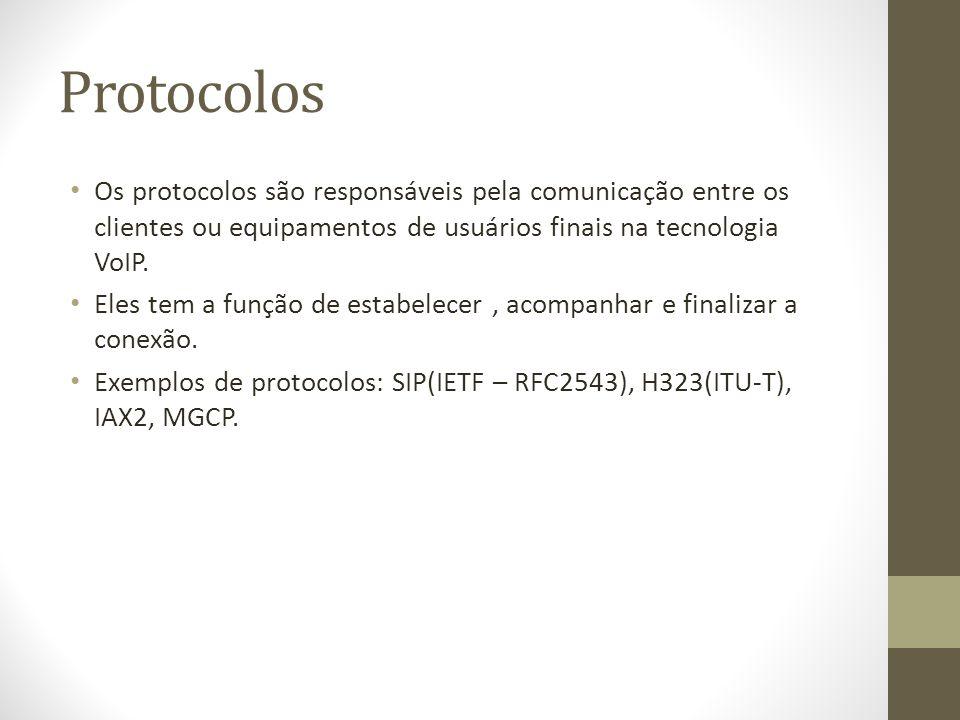 Protocolos Os protocolos são responsáveis pela comunicação entre os clientes ou equipamentos de usuários finais na tecnologia VoIP. Eles tem a função