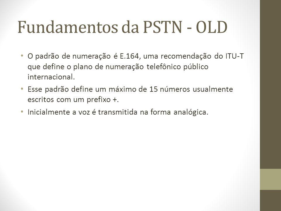 Fundamentos da PSTN - OLD O padrão de numeração é E.164, uma recomendação do ITU-T que define o plano de numeração telefônico público internacional. E