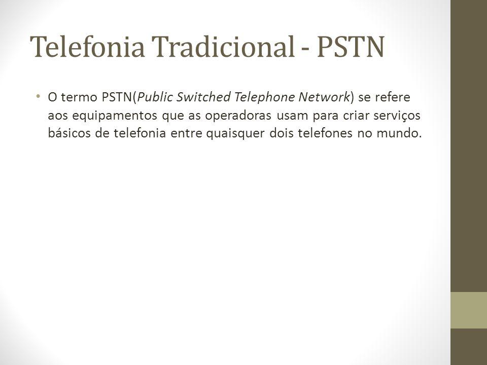 Telefonia Tradicional - PSTN O termo PSTN(Public Switched Telephone Network) se refere aos equipamentos que as operadoras usam para criar serviços bás