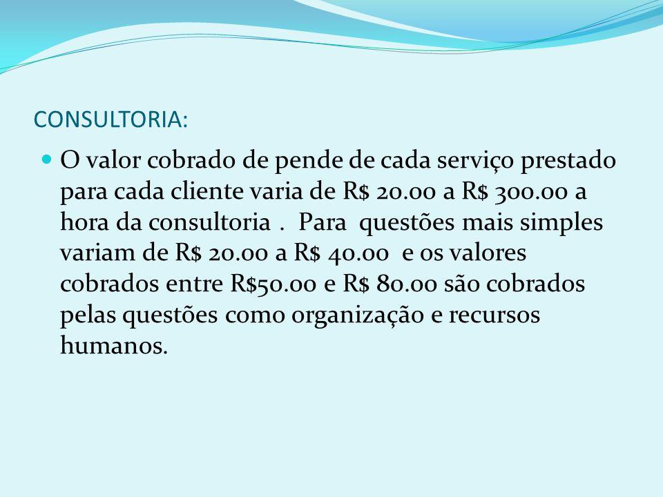 CONSULTORIA: O valor cobrado de pende de cada serviço prestado para cada cliente varia de R$ 20.00 a R$ 300.00 a hora da consultoria. Para questões ma