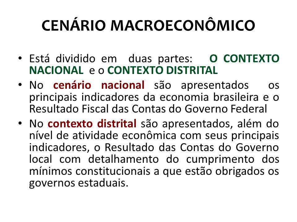 CENÁRIO MACROECONÔMICO Está dividido em duas partes: O CONTEXTO NACIONAL e o CONTEXTO DISTRITAL No cenário nacional são apresentados os principais ind