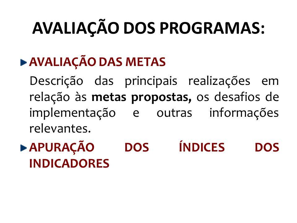 AVALIAÇÃO DOS PROGRAMAS: AVALIAÇÃO DAS METAS Descrição das principais realizações em relação às metas propostas, os desafios de implementação e outras