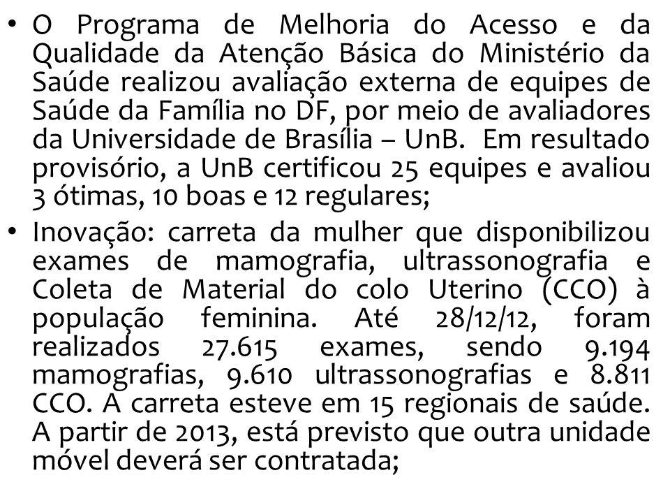 O Programa de Melhoria do Acesso e da Qualidade da Atenção Básica do Ministério da Saúde realizou avaliação externa de equipes de Saúde da Família no DF, por meio de avaliadores da Universidade de Brasília – UnB.