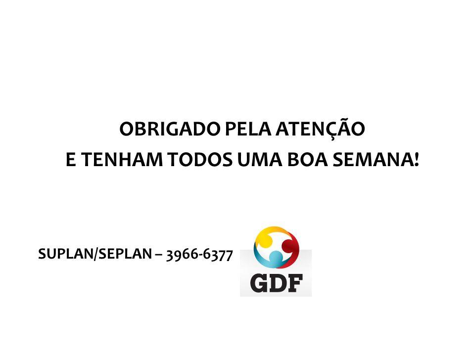 OBRIGADO PELA ATENÇÃO E TENHAM TODOS UMA BOA SEMANA! SUPLAN/SEPLAN – 3966-6377