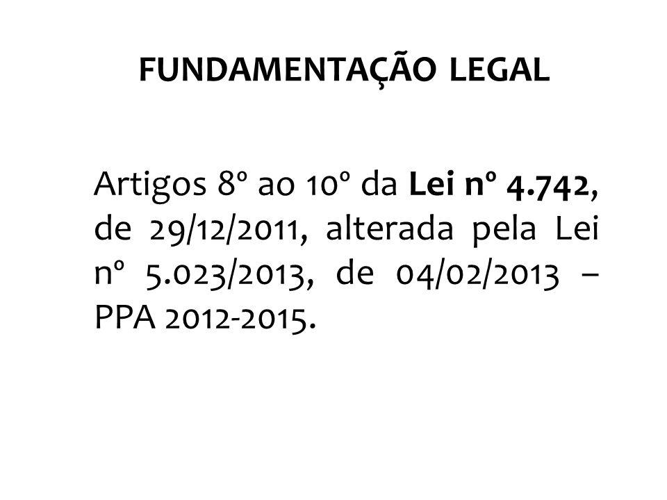 FUNDAMENTAÇÃO LEGAL Artigos 8º ao 10º da Lei nº 4.742, de 29/12/2011, alterada pela Lei nº 5.023/2013, de 04/02/2013 – PPA 2012-2015.