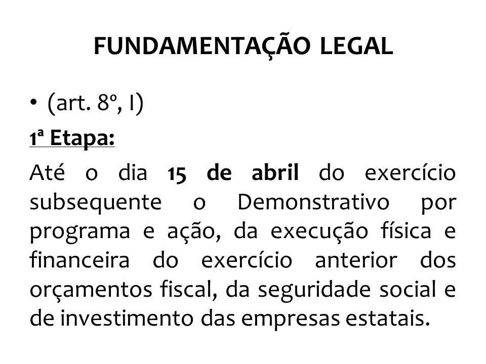 FUNDAMENTAÇÃO LEGAL (art. 8º, I) 1ª Etapa: Até o dia 15 de abril do exercício subsequente o Demonstrativo por programa e ação, da execução física e fi