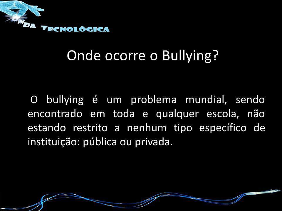 Onde ocorre o Bullying? O bullying é um problema mundial, sendo encontrado em toda e qualquer escola, não estando restrito a nenhum tipo específico de