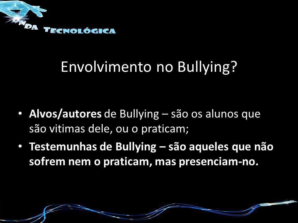 Envolvimento no Bullying? Alvos/autores de Bullying – são os alunos que são vitimas dele, ou o praticam; Testemunhas de Bullying – são aqueles que não