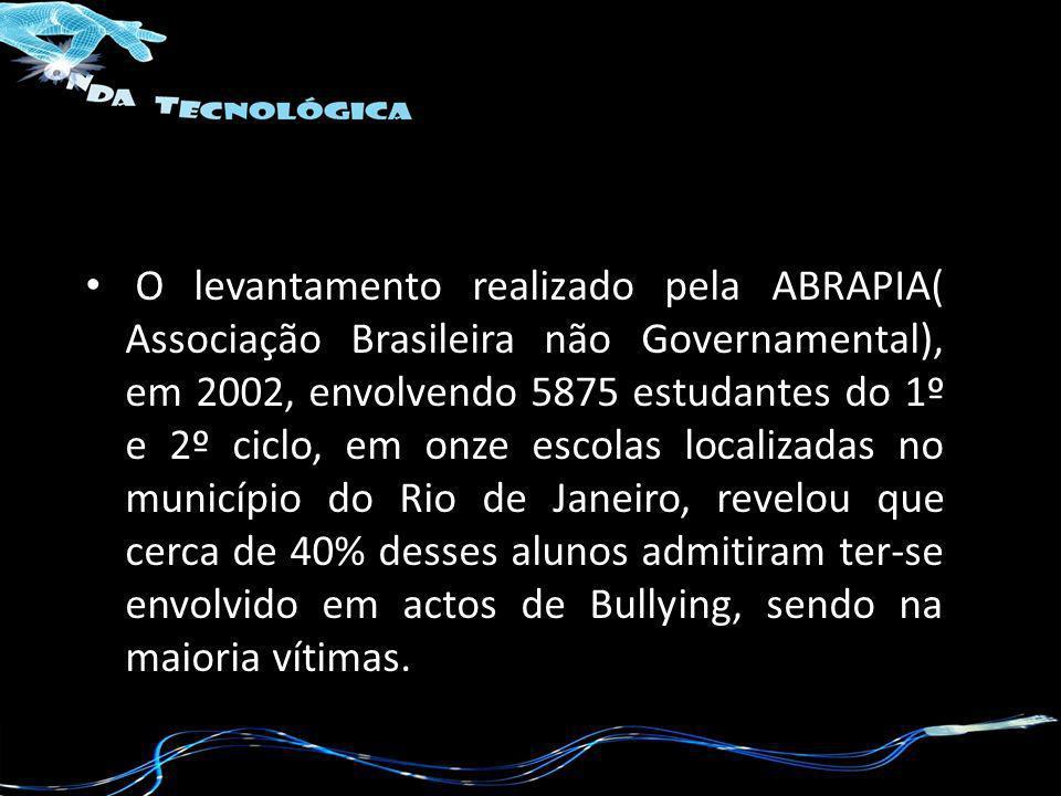 O levantamento realizado pela ABRAPIA( Associação Brasileira não Governamental), em 2002, envolvendo 5875 estudantes do 1º e 2º ciclo, em onze escolas