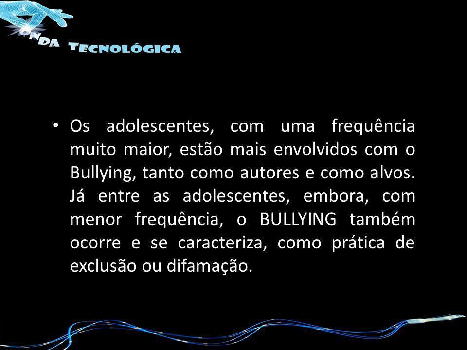 Os adolescentes, com uma frequência muito maior, estão mais envolvidos com o Bullying, tanto como autores e como alvos. Já entre as adolescentes, embo