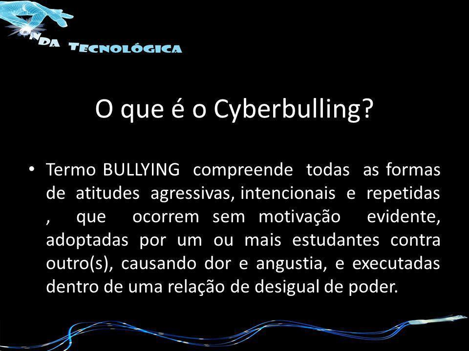 O que é o Cyberbulling? Termo BULLYING compreende todas as formas de atitudes agressivas, intencionais e repetidas, que ocorrem sem motivação evidente