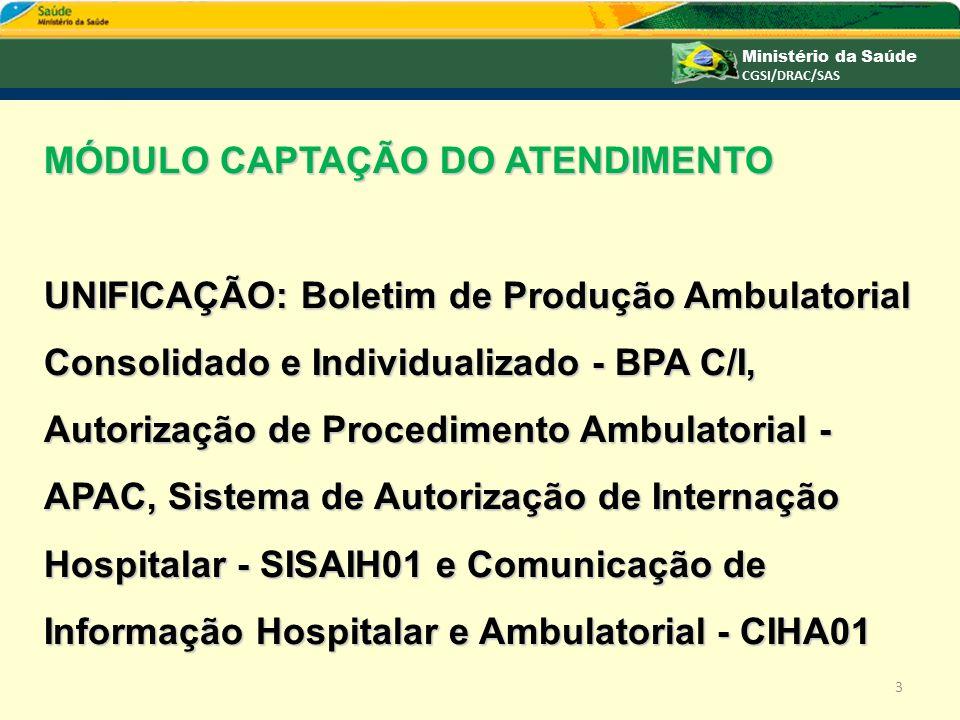 MÓDULO CAPTAÇÃO DO ATENDIMENTO UNIFICAÇÃO: Boletim de Produção Ambulatorial Consolidado e Individualizado - BPA C/I, Autorização de Procedimento Ambul