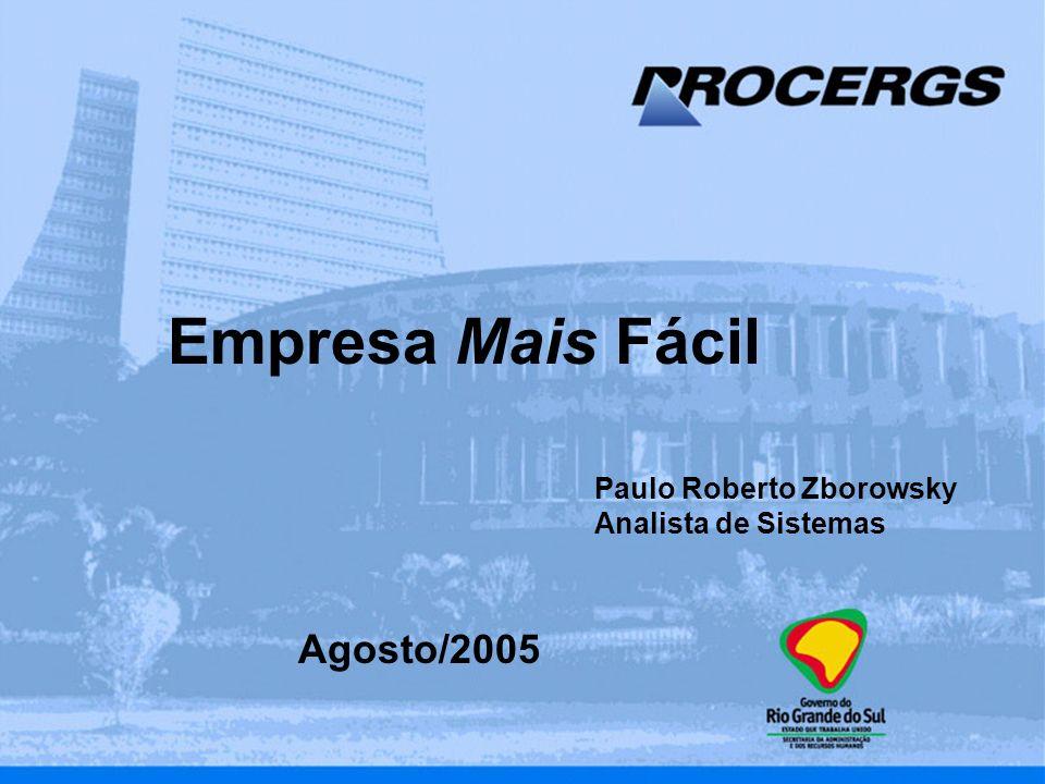 Título da Apresentação Mês/Ano Nome do Autor Setor do Autor Empresa Mais Fácil Agosto/2005 Paulo Roberto Zborowsky Analista de Sistemas