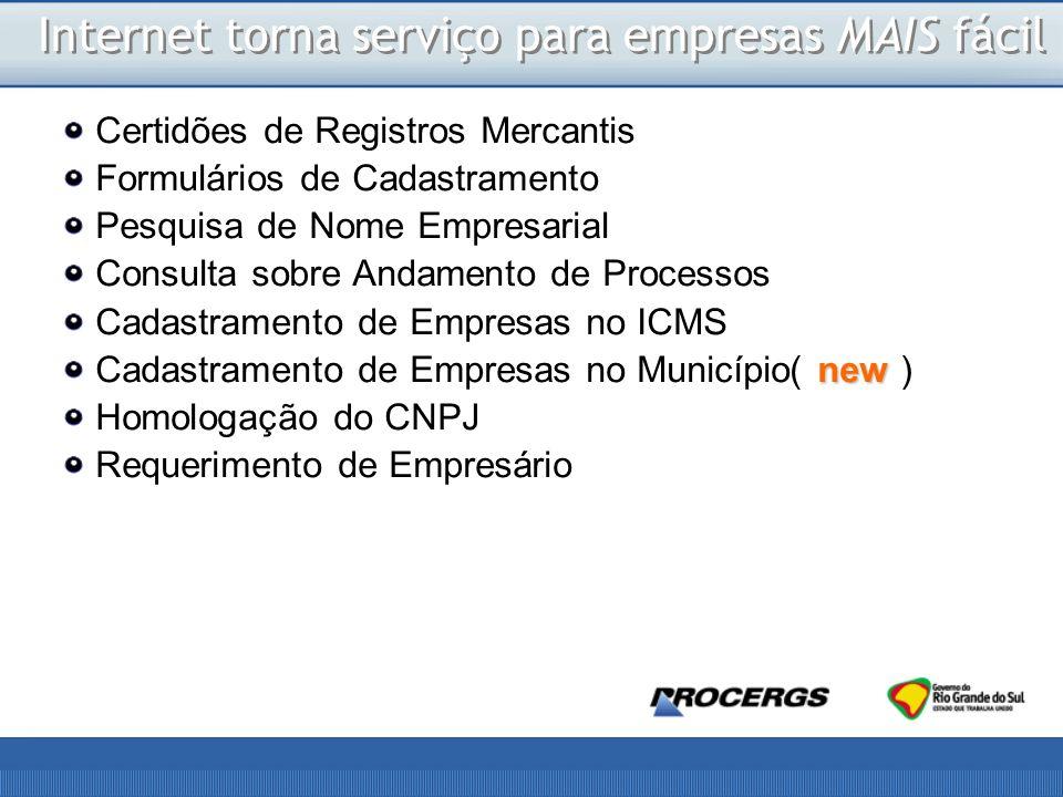 Certidões de Registros Mercantis Formulários de Cadastramento Pesquisa de Nome Empresarial Consulta sobre Andamento de Processos Cadastramento de Empresas no ICMS new Cadastramento de Empresas no Município( new ) Homologação do CNPJ Requerimento de Empresário Internet torna serviço para empresas MAIS fácil