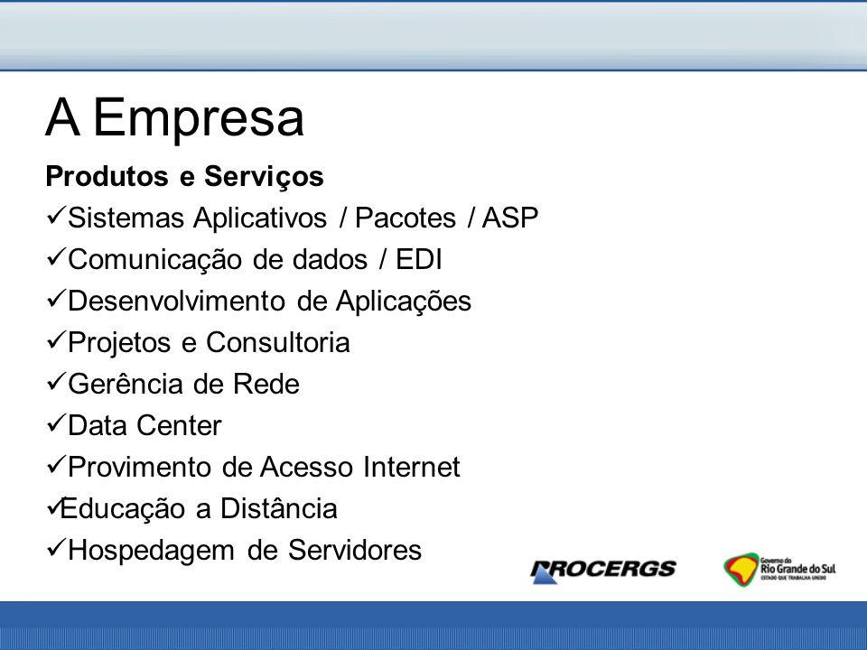 Produtos e Serviços Sistemas Aplicativos / Pacotes / ASP Comunicação de dados / EDI Desenvolvimento de Aplicações Projetos e Consultoria Gerência de Rede Data Center Provimento de Acesso Internet Educação a Distância Hospedagem de Servidores A Empresa