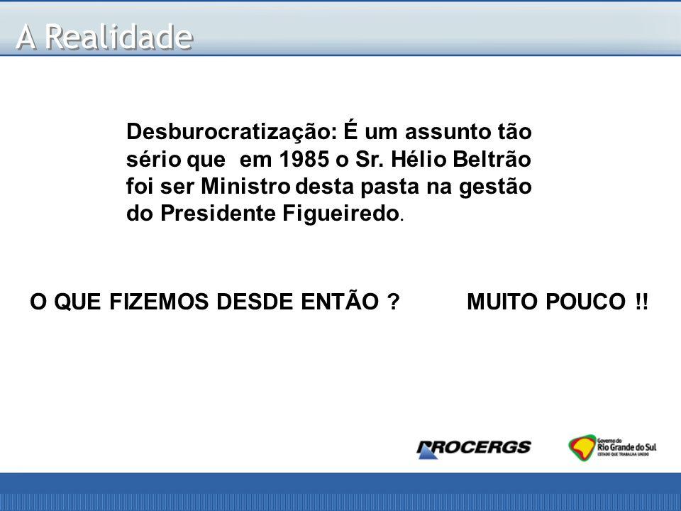 A Realidade Desburocratização: É um assunto tão sério que em 1985 o Sr.