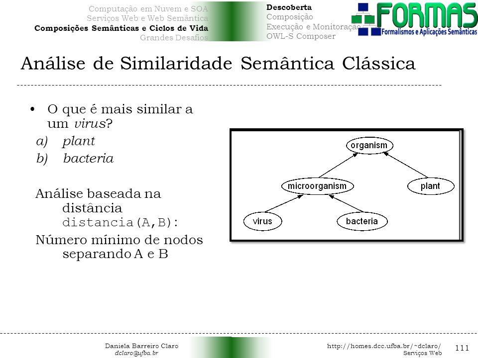 Análise de Similaridade Semântica Clássica 111 O que é mais similar a um virus .